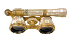 Antique Opera Glasses - Angled Top view isolated. Stock Photo
