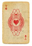 Antique ornamental rubbed ace of hearts playing card Stock Image