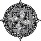 Antique ornamental wind rose isolated. On white background. Black and white image Stock Photography