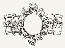 Antique Ornate Frame Engraving Stock Images