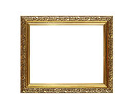 Antique ornate golden picture or photo frame. Antique old baroque ornate wooden classic golden painted horizontal rectangular frame for picture or photo Royalty Free Stock Photo