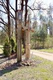 Antique orthodox crosses wayside shrine royalty free stock photo