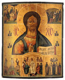 Antique orthodox icon. Antique Russian orthodox icon painted on wooden board. Jesus Christ and scenes from The Gospel Stock Photography