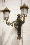 Antique outdoor lamp in green and golden tone Royalty Free Stock Photos