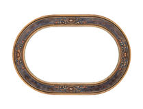 Antique oval wood picture frame isolated Stock Photo