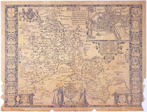 Antique Oxfordshire map Royalty Free Stock Images