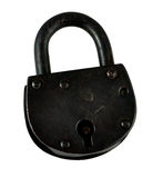 Antique Padlock. The old black door padlock at the white background Stock Images