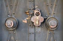 Antique padlock. Of a church door stock photos