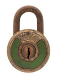 Green antique padlock. Antique padlock green color on white background Royalty Free Stock Images