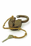 Antique Padlock with Key Royalty Free Stock Images