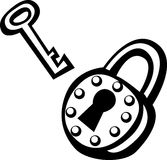 Antique padlock and key vector illustration Royalty Free Stock Photos