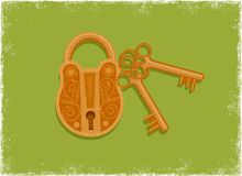 Antique padlock and key Royalty Free Stock Image