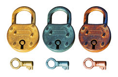 Antique Padlocks group Stock Photo