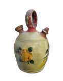 Antique painted crockery jug isolated. Stock Image