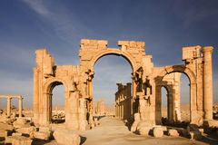 Antique Palmyra in Syrian desert Stock Photo