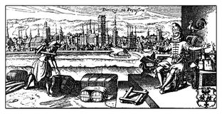 Antique panoramic view of Danzig the actual Polish city of Gdans. XVIII century, ancient view of Danzig the actual Gdansk, then Prussian German city on the Vector Illustration