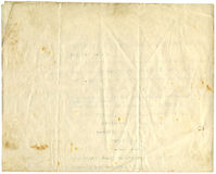Antique paper, 1916. Antique wrinkled, spotted paper, 1916, isolated on white, for backgrounds Royalty Free Stock Photo