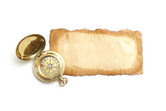Antique Paper and Compass Stock Photo