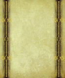 Antique Paper with Gold Scrollwork Borders. Background Royalty Free Stock Photo