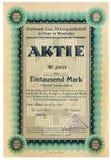 Antique paper share certificate. Kiev, Ukraine - Feb. 25, 2018: ILLUSTRATIVE EDITORIAL The reproduction of antique paper share certificate of the german steel Stock Photo
