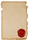 Antique paper sheet with red wax seal Stock Photography