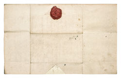 Antique paper sheet with red wax seal. Grunge texture Stock Images