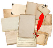 Antique paper sheets with red feather ink pen. Used textures and Royalty Free Stock Photography