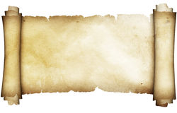 Antique parchment scroll. Ancient parchment scroll. Isolated on white background Stock Photo
