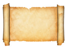 Antique parchment scroll. stock image