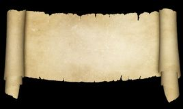 Antique parchment scroll on black background. Stock Photography