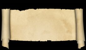 Antique parchment scroll. Antique parchment scroll with torn edges on black background Stock Photo