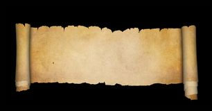 Antique parchment scroll. Scroll of antique parchment with torn edges. Isolated on black background Stock Photography