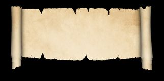 Antique parchment scroll. Scroll of antique parchment with torn edges. Isolated on black background Royalty Free Stock Images