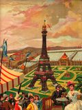 Antique Paris Eiffel Tower Cloud Sky Ladies Lunch Royalty Free Stock Images