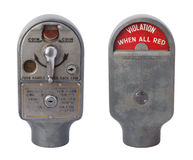 Antique Parking Meter Isolated on White. Antique Parking Meter (1953) Violation, isolated on white with a clipping path Stock Image