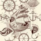 Antique pattern with ship, shells and map, tripping theme Royalty Free Stock Images