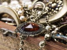 Antique pendant on silver necklace stock photo