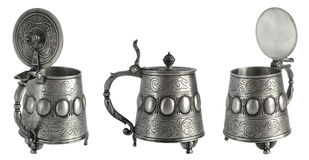 Antique pewter beer tankard Stock Image