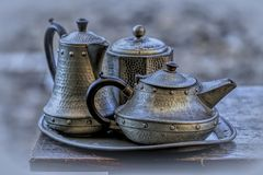 Antique pewter tea service Royalty Free Stock Photography