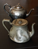 Antique pewter teapots Royalty Free Stock Photo
