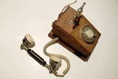 Antique phone. Old wooden phone Royalty Free Stock Image