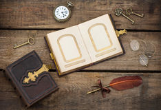 Antique photo album over grungy wooden background Royalty Free Stock Images