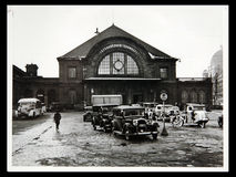 Antique photo Cars at the Starnberger station square Royalty Free Stock Image