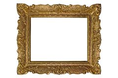 Antique photo frame. Blank Antique gold photo frame,space for your photo/text.Isolated on white Stock Photography