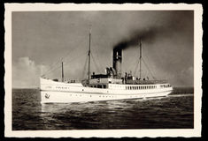 Antique photo Steamer FRISIA I at sea Stock Photography