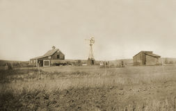 Antique photograph of homestead farmyard Royalty Free Stock Image