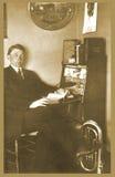 Antique photograph of man at desk stock photos