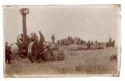 Antique photograph men farming Royalty Free Stock Photography