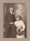 Antique photograph of a wedding couple. Original antique photograph portrait of a wedding couple from 1915 Stock Photo