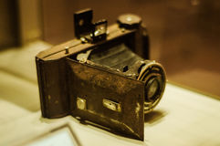 Antique Photography Camera In Museum Showcase Stock Images